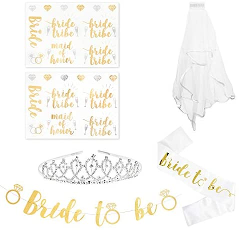 Bachelorette Party Supplies, Bride to Be Sash, Bridal Shower Favors, 10 Ft Gold Glitter Banner, 2 Sheets Flash Tattoos, 2.5' Veil, Crown Tiara, Bridesmaid, Squad, Team Decorations