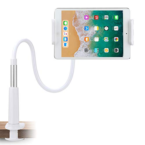 "Gooseneck Tablet Stand Mount Holder for 4""-10.5"" iPad Android Tablet/iPhone Cell Phone- 360 Rotating, 37.5inch Overall Length (Silver)"