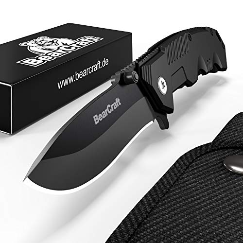 BearCraft Folding Knife in Matt Black | Sharp Outdoor Survival Pocket Knife | Small one-Hand Knife with Stainless Steel Blade and Aluminum Handle| Can be Used for Work Hiking Camping