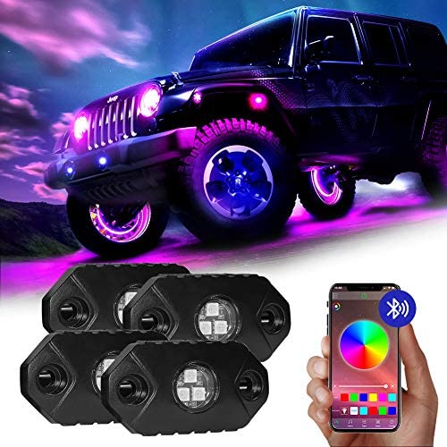4WDKING RGB LED Rock Lights - 4 Pods Multicolor Rock Light Kit with Bluetooth Control, Timing, Music Mode for Underglow Jeep Off Road Car Truck Boat