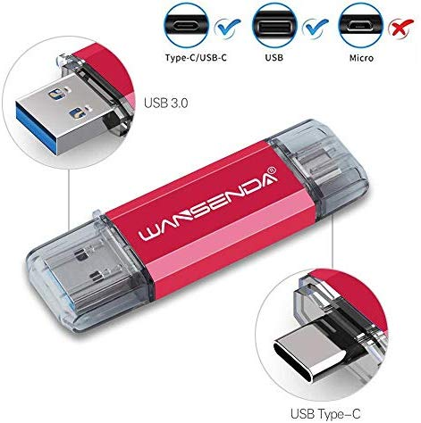 256GB Type-C USB C Flash Drive USB 3.0/3.1 Thumb Drive for Smartphones Huawei Samsung Galaxy S8/S8+/S9/S9+/S10/S10+, Note7/8/9/10,A6S/A9S LG G6 V30, Google Pixel XL (Red)