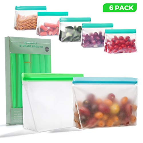 Reusable Storage Bags, 6PCS LARGE Leakproof Ziplock Bags, Reusable Freezer Lunch Sandwich Bags, Reusable Snack BPA Free Food Bags for Marinate Meats, Snack, Sandwich, Fruit, Travel, Cereal, Veggies
