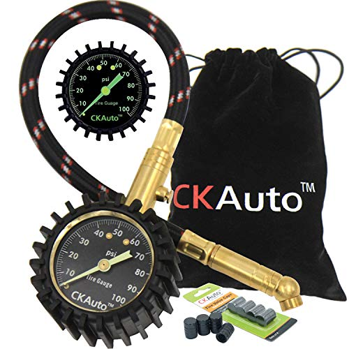 "CK Auto Tire Pressure Gauge 100PSI - Certified ANSI B40.1 Accurate with Large 2"" Glow Dial and Solid Brass Hardware, Professional Mechanical Tire Gauge for Any Car, Truck, Motorcycle, RV"