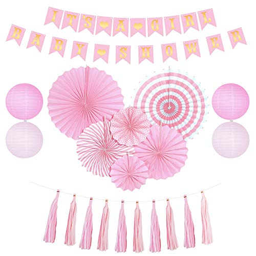 Baby Shower Decorations for Girl | Pink and Gold Party Supplies with It's A Girl Banner Paper Fans & Lanterns & Tassel Garlands | Girl Baby Shower Decorations Backdrop Set for Baby & Mom