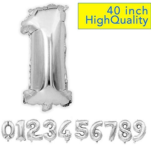 ZZIIEE 40 Inch Large Silver Numbers 0-9 Birthday Party, Festival, Anniversary Party Decorations Helium Foil Mylar Big Number Balloon Digital 1