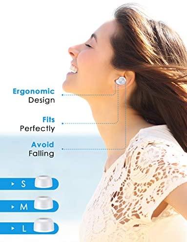 True Wireless Earbuds 5.0 Bluetooth Headphones Lightweight TWS Sports Headphones Small Waterproof Headphones in-Ear with Hi-Fi Stereo, Deep Bass, Mic & Portable Charging Case