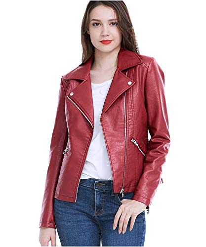 Fasbric Women's Faux Leather Jackets Long Sleeve Zipper Short Moto Biker Jacket Bomber Coat