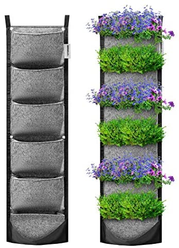 VIVOSUN 6 Pockets Vertical Wall Garden Planter Wall Mount Planter Pouch Grey