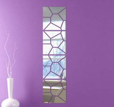 "Mirror Wall Decals - Self Adhesive by LBEE Home | 28 pcs | 4 Squares, Irregular Shape | Each Square is 8"" x 8"" Each (20cm x 20cm) 