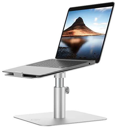 Adjustable Laptop Stand for Desk, Computer Stand for Laptop Featuring Aluminum Cool Design, Height and View Angle Adjustable, 360 Rotatable, Compatible with MacBook Air, Pro and More Notebooks