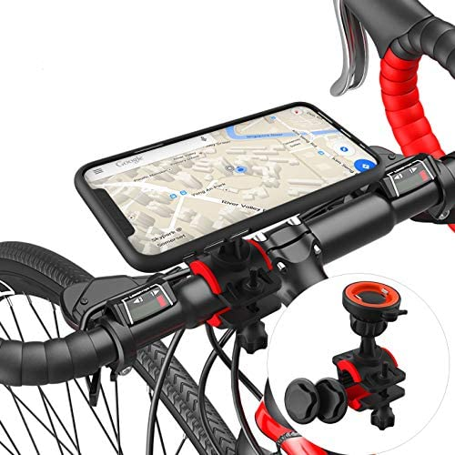Bike Phone Mount Motorcycle Phone Mount Detachable Adjustable 360° Rotation Bike Phone Holder for Bike Bicycle Handlebars Universal for iPhone 11 Pro Max Xr Xs X 8 Plus, Samsung Galaxy, Google Pixel