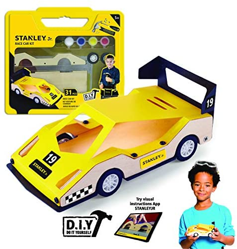 Stanley Jr. DIY Race Car Kits for Kids - Easy to Assemble Race Car Building Set - Wood Racecar Kit - Wooden Race Car Crafts - Paint & Decals Included
