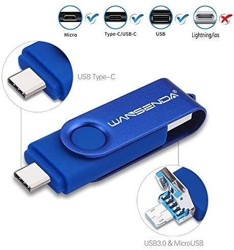 3 in 1 USB 3.0/3.1 Flash Drive Type-C Type-A & Micro USB Thumb Drive (256GB, Blue)