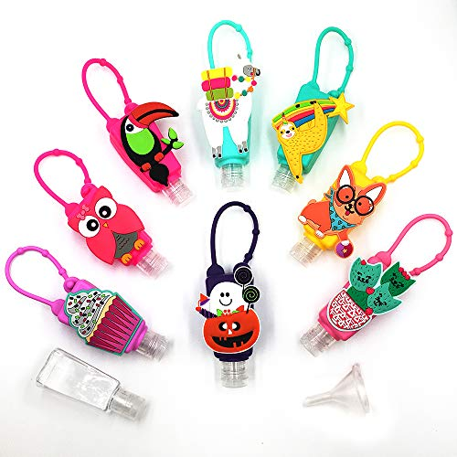 Amzmart Kids Hand Sanitizer Holder, Travel Size Bottle Holder Keychain for Backpack, Children's Plastic Bottle with Silicone Case, Leak Proof Refillable Liquid Container Multi Use, Set of 8, NEW