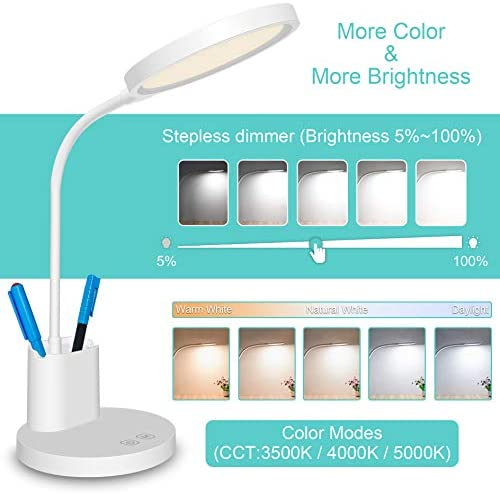Stepless Dimming LED Desk Lamp,3 Color Modes Rechargeable Modern Table Lamp,Eye-Caring Study Touch Control Flexible Gooseneck Lamp with Pen Holder and Phone Stand,Desk Lamp for Bedroom,Study Room,Dorm