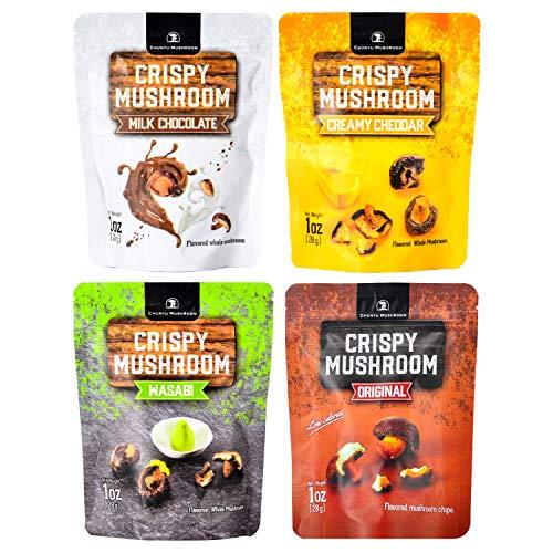 Shiitake mushroom crisps, Crispy Mushroom, Low fat snack pack, Crunchy healthy, Vegetable crisps, Mushroom snack, vegetable snacks, healthy crunchy snacks, mushroom chips snacks (4 Flavor (3), 4p3)