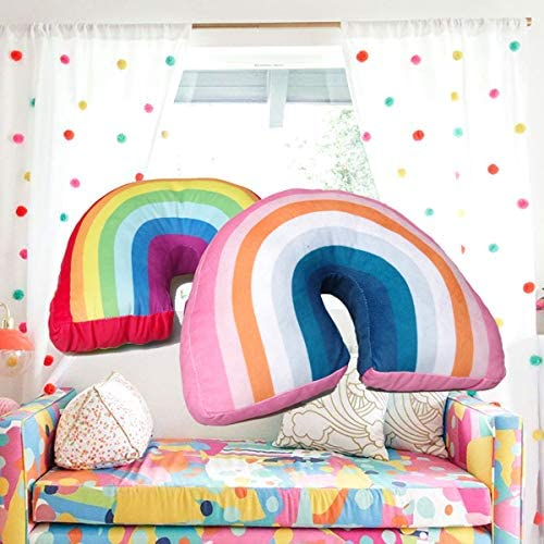 Poitemsic Pink Arch Shaped Rainbow Pillow for Girls Kids Stuffed Plush Throw Pillows for Sofa Chairs Bed Decoration,13.7""
