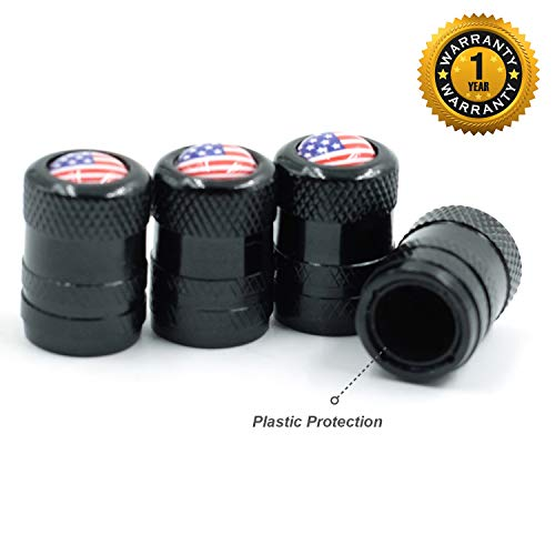 CK Auto 4 Pcs Aluminum Tire Valve Stem Caps with American USA Flag Logo, Universal Dust Proof Stem Covers, TPMS Safe & Corrosion Resistant, Black