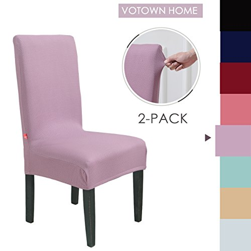 Votown Home Dining Room Chair Slipcovers Spandex Stretch Fabric Home Decor Set of 2, Violet