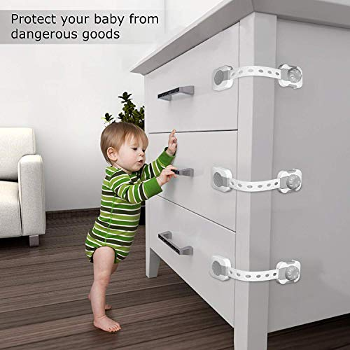 Baby Safety Cabinet Locks - Pack (6 Straps), Baby Proof Cabinets, Drawers, Toilet, Fridge & More - Easy to Use & Easy to Install Child Safety Locks with 3m Adhesive, by KidProtect