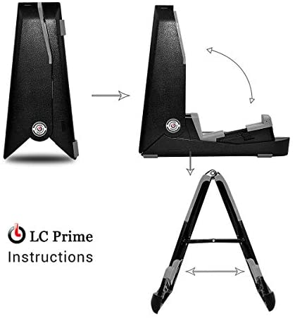 Ukulele Violin Mandolin Stand Portable Adjustable Folding Space Saving Tripod For Plastic Ukelele Stand w/Pro Extendable Holding Arm Silicon Cushion plastic silicone, by LC Prime