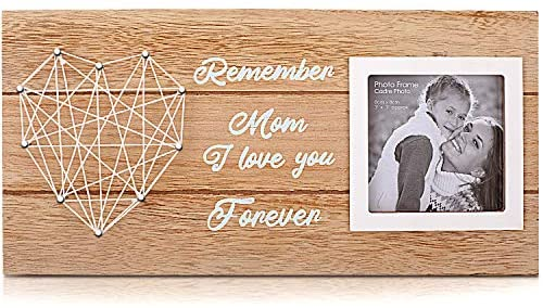 "SEVENS Mom I Love You Picture Frame with a Handmade String Heart for 3"" x 3"" Photo, Great Gift for Mother's Day, Birthday or Valentines"