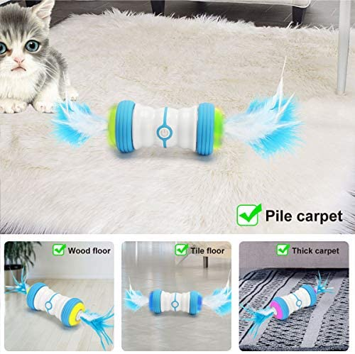 Atpot Cat Toys for Indoor Cats, Interactive Cat Toy,Fast/Slow Model,7 in 1 Smart Automatic Robotic Cat Toy with USB Rechargeable,Feather,Corful Light,Catnip for Kitten Fun