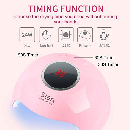 UV Gel Led Nail Lamp, Portable UV Gel Light Nail Dryer, 24W Winshine Nail Polish Curing Gel Dryer 30s 60s 90s Timer Settings Automatic Sensor Nail Art Tools Professional Polygel Nail Kit