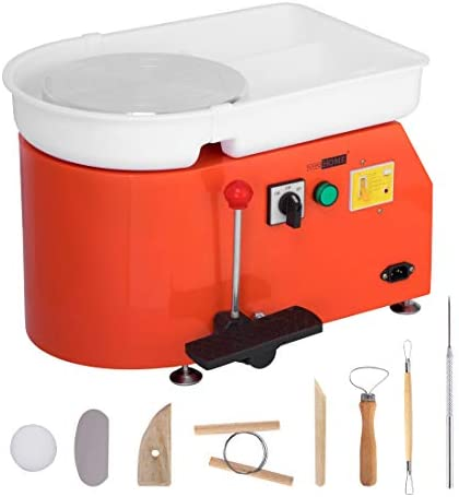 VIVOHOME Pottery Wheel 25CM Pottery Forming Machine 350W Electric DIY Clay Tool with Foot Pedal and Detachable Basin for Ceramic Work Art Craft Orange