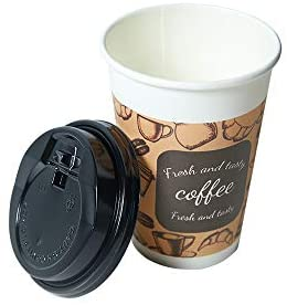100 Pack Disposable Coffee Cups with Lid 12 oz Insulated Paper Hot Beverage Drink for Party Home Restaurant Picnic Travel