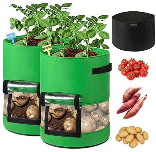 Sunrich Potato Grow Bags 10 Gallon Plant Grow Bags 2 Pack with 360°Visualization Area, Handles, Flap Fabric Garden Growing Planter Bags for Planting Vegetables Tomato Fruit Flower (360° Visual)
