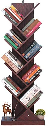 9-Shelf Tree Book Shelf, Bookcases and Shelves, Bookshelf Shelving Display Storage Rack for Books, Magazines, DVDs & More, Save Space for Home, Office, Kid's Children Room, Retro Brown