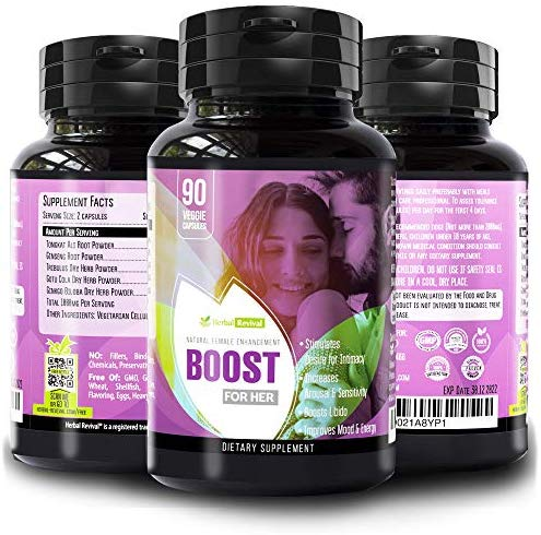 Boost for Her Natural Female Sexual Enhancement Pills – Testosterone And Libido Booster For Women –  Increase Stamina & Energy, Boosts Sex Drive & Prevent Vaginal Dryness -100% Organic & Safe 90 Vegetarian Capsules