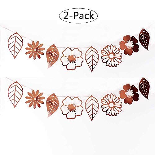 SUNNYHILL 2 Pack Rose Gold Party Decoration Banner Leaves and Flowers Pattern Festivity Flag