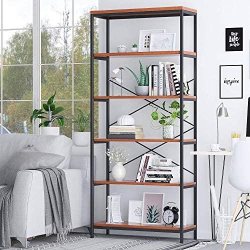 Tall Bookshelf Mordern Wood Metal Open Industrial Book Shelves Bookcase Shelving Unit Storage System 5 Tier