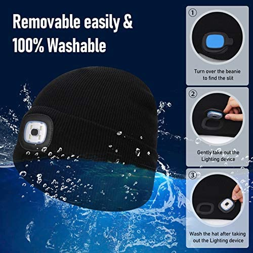 Sminiker Beanie Hat with Light Unisex USB Rechargeable Beanie Cap with Light Headlamp Beanie for Men, Women, Teens