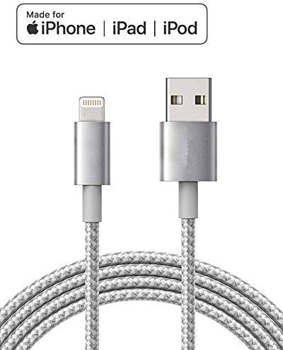 Lightning iPhone Charger Cable Apple - MFI - Certified Made for iPhone 8/8 Plus/X/XS/XS Max/XR/7/7 Plus/SE/6/6 Plus/6S/6S Plus/5/5C/5S, iPad/iPad Mini/iPad Air, iPod Touch/Nano(6 FT Silver)