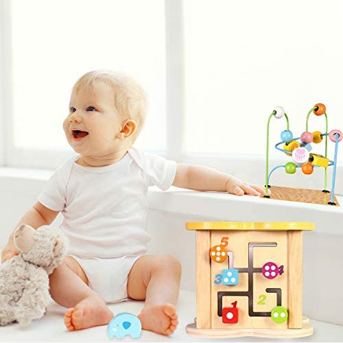 Baby Small Activity Cube Toys 6-in-1 Play Center Wooden ...