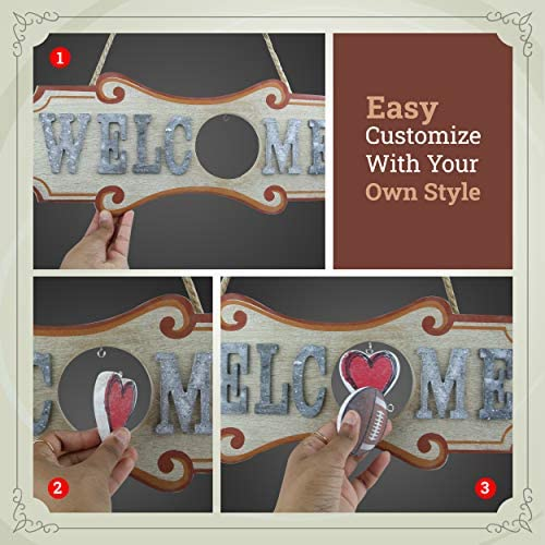 Signcrafter - Interchangeable Welcome Sign - Welcome Sign with Interchangeable Holiday - Interchangeable Holiday Decorations - Welcome Sign with Interchangeable Seasons - 3 Extra Hooks Included