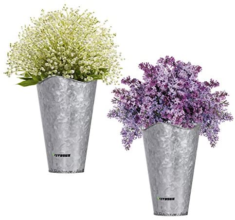 VIVOSUN Vintage Style Hanging Wall Planter Decor, Lightweight Metal with Galvanized Finish, for Faux Plants or Dry Flowers, Set of 2