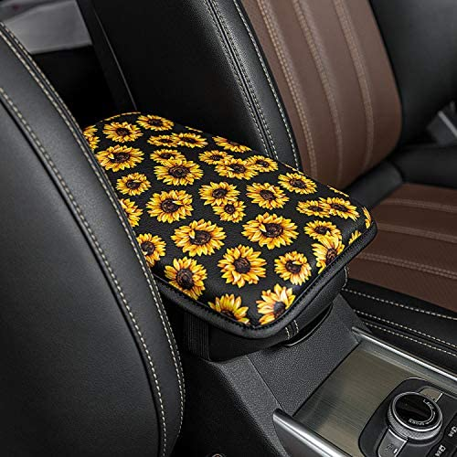 Seven Sparta Universal Center Console Cover for Most Vehicle, SUV, Truck, Car, Waterproof Armrest Cover Center Console Pad, Car Armrest Seat Box Cover Protector(Black) (Sunflower)