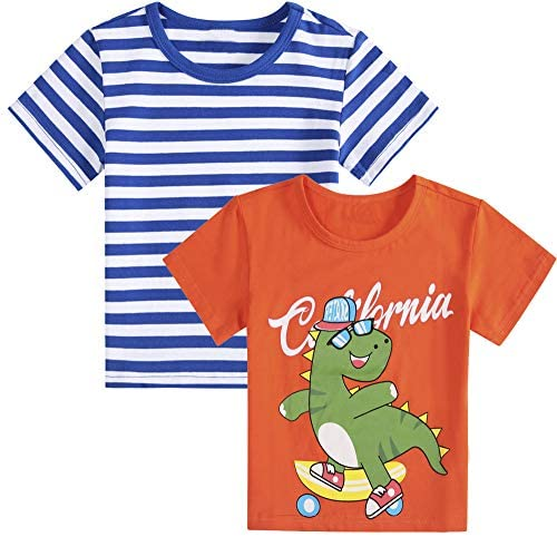 Girls Boys Short-Sleeved Shirt Digital car Print Summer White red T-Shirt Tops 2 Pieces (1-6 Years Old)
