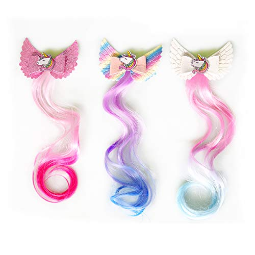 Sunormi 3-Colors Blinking Princess Unicorn Hair Clips In 14 inch Hair Extensions Kids Girls Ponytails Hair Bows Pins Festival Halloween Hair Weave (White/Rainbow/Pink)