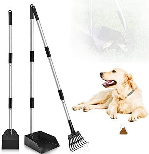 PETRIP Poop Scooper, 3 Pack Metal Long Handle Dog Poop Scoop Rake and Pan Set, Adjustable Stainless Pooper Scooper for Large Medium Small Dogs