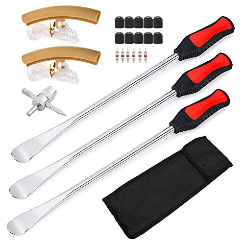 Motion18 Tire Spoon Lever Motorcycle Changing Tools Iron Kit, 14.5 inch Bike Tires Repair Set Changer Removal Tool 3 PCS Spoons Valve with 6 Valve Cores Set and 2 Rim Protectors