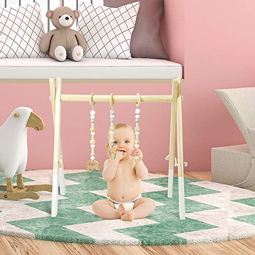 Homegician Baby Wood Gym, Wood Play Gym with 3 Wooden Baby Teething Toys Foldable Baby Play Gym Frame Activity Gym Hanging Bar Newborn Gift Baby Shower Gift Gym