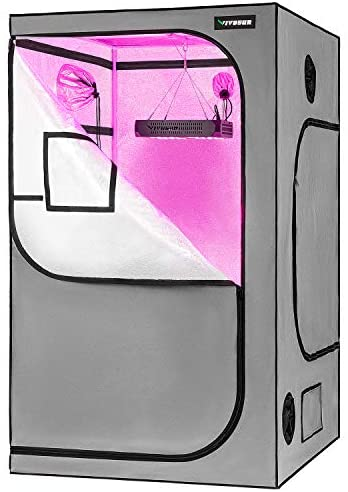 "VIVOSUN 48""x48""x80"" Grow Tent with Observation Window and Floor Tray, Mylar hydroponic Tents for Plants 4x4 FT"