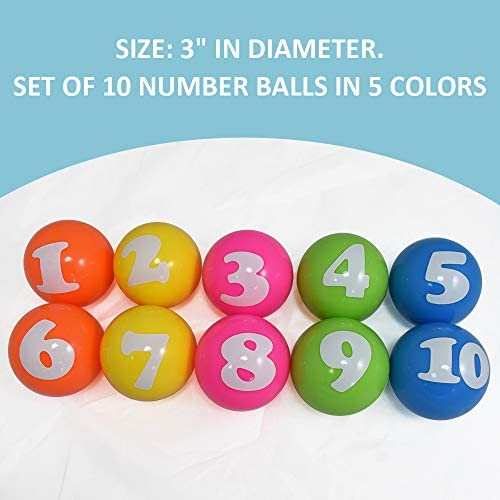 Arise Numbered Vinyl Ball Set, Counting & Math Learning Toys for Kids, Stress Relief Lottery Balls, Safe and Fun, Numbered 1-10, Size 3 Inch