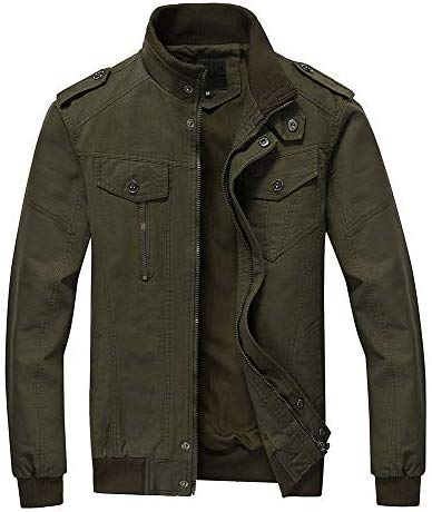 FEDTOSING Mens Bomber Jacket Stylish Windbreaker Men Stand Collar Military Jacket with Shoulder Straps