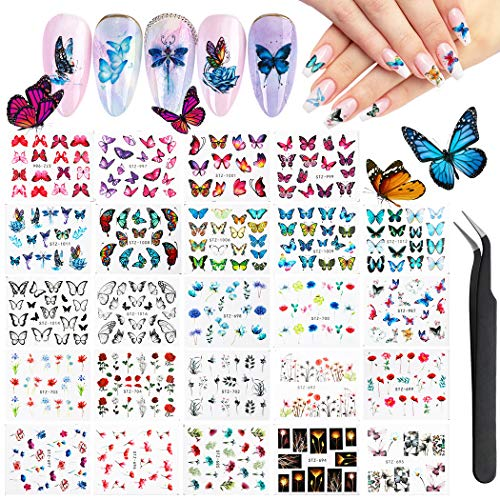 Nail Art Stickers, FunPa 24 Sheets Gel Nail Decals with Butterfly Flower Patterns Water Transfer Nail Stickers for Women Kids Fingernail Decorations Nail Art Accessories Decals DIY or Nail Salon